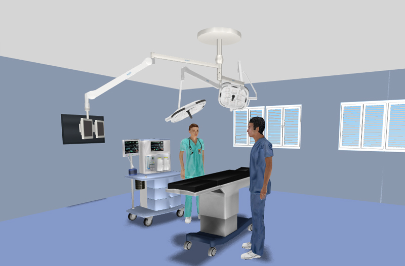 операционная лампа EPURE двухкупольная с мониторами